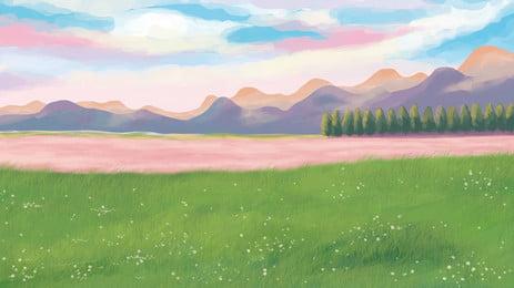 Color Sky Far Mountain Grass Background Illustration, Grassland, Far Mountain, Color, Background image