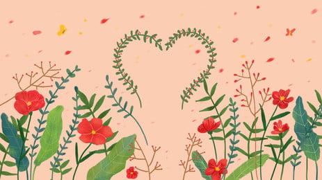 色の花、緑の葉、花びら、ピンクの背景 色 花 緑の葉 背景画像
