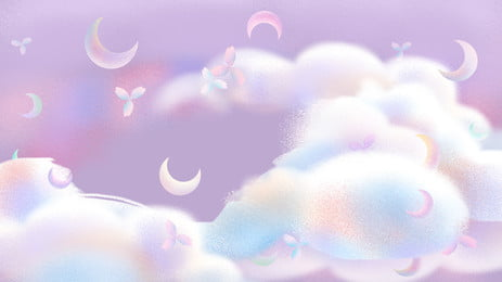 latar belakang kartun bunga buluh yang berwarna warni, Warna, Awan, Bulan imej latar belakang