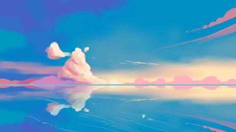 カラフルな雲、海の反射、背景素材 色とりどり クラウド層 カラフルな雲 背景画像