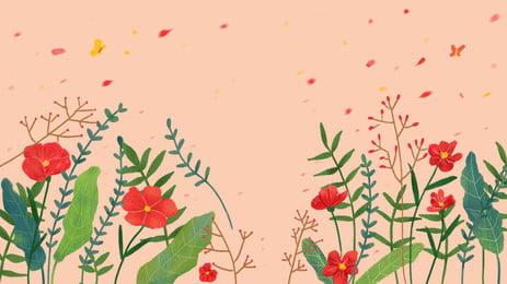 カラフルな花と緑の葉、ピンクの背景 アニメ カラー ピンク 背景画像