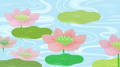カラフルな水彩ブルーウォーターウェーブロータス 色 水彩画 ブルー 背景画像