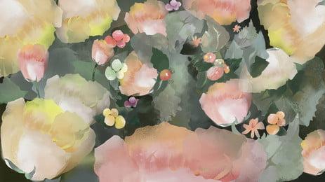 カラフルな水彩花緑の葉漫画の背景 色 水彩画 花 背景画像