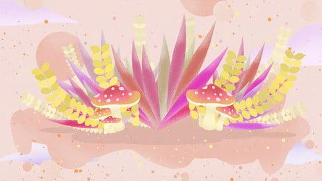 Gỗ đầy màu sắc nấm hoa và thực vật nền poster Màu Mùa Thu Hình Nền