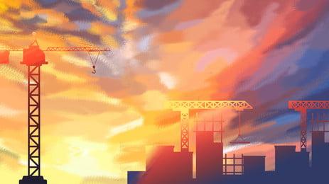 thiết kế nền xây dựng dưới trời neon, Nền đẹp, Nền đầy Màu Sắc, Sơn Nền Ảnh nền