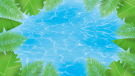 Cool Summer Pool Leaf Background Design Scene,illustration Background,pool,plant,leaf,creative Banner,background, Image, Fresh, Background, Background image
