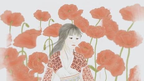 コスチューム美しい女性の赤い花の漫画の背景, コスチューム, 美しい, 女 背景画像