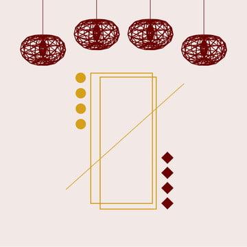 創造的なミニマリストの幾何学的な赤いラインランタン中国風の背景素材 , ジオメトリ, 中華風, 単純な 背景画像