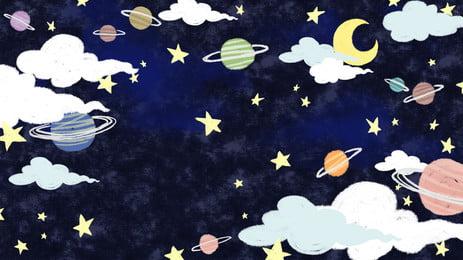 Creative Starry Planet Cartoon Background Design Sky,planet,cartoon Background,creative Banner,background, Image, Background, Design, Background image