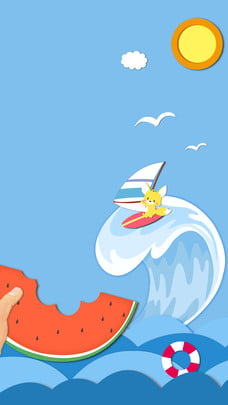 cute cartoon cat surfing poster background design , Sun, Flower, Surf Background image