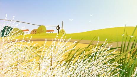 Đầu mùa đông ngoại ô vật liệu nền Trang trại Đồng cỏ Cánh đông Chất PSD Hình Nền