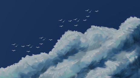 विशाल नीले आकाश में उड़ने वाली पक्षी पृष्ठभूमि सामग्री, बादल की परत, व्यापक, उड़ता हुआ पक्षी पृष्ठभूमि छवि