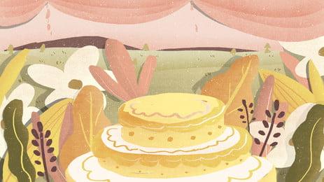 童話風可愛婚禮蛋糕背景設計, 童話風, 卡通, 可愛 背景圖片
