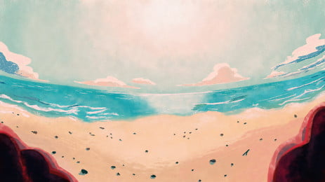 Fantasy Beach Color Illustration Background Design, Fantasy Background, Colorful Background, Hand Painted Background, Background image