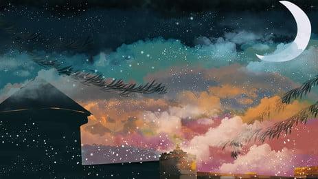 काल्पनिक फ्लोरोसेंट महल विज्ञापन पृष्ठभूमि, विज्ञापन की पृष्ठभूमि, चन्द्रमा, क्रिसेंट पृष्ठभूमि छवि