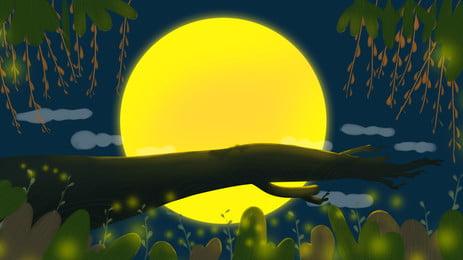 Fantasy mid autumn moon woods thiết kế nền minh họa Vẽ Tay Giấc Hình Nền
