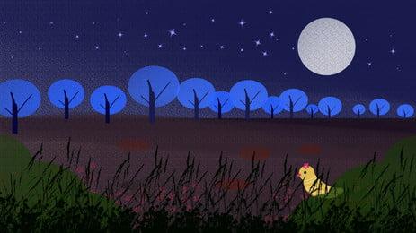 Fantasy starry sky forest tài liệu nền chúc ngủ ngon Con Chim Nhỏ Hình Nền