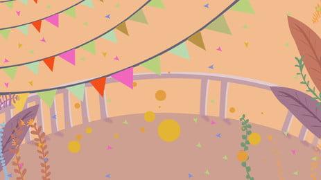lễ hội nhà máy nhỏ bunting cảnh nền, Lễ Hội, Bunting Nhỏ, Nhà Máy Ảnh nền