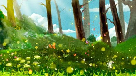 latar belakang pengiklanan hutan kluster bunga, Latar Belakang Pengiklanan, Segar, Hutan imej latar belakang