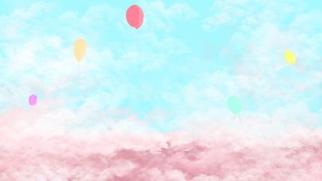 五彩雲朵天空中的放飛的氣球 五彩 雲朵 天空背景圖庫