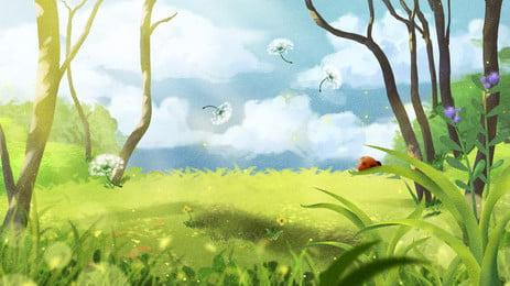 新鮮で素敵なおとぎ話の森イラスト背景デザイン, 新鮮な, 手描き, 可愛い 背景画像