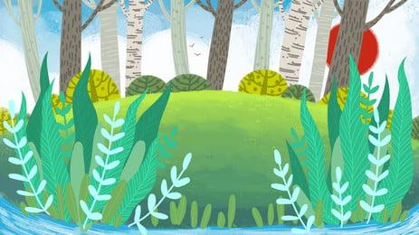 Свежий и симпатичный дизайн предпосылки иллюстрации древесин утра мультипликация Рисованной пресная прекрасный Раннее утро дерево лес лесок Иллюстрация фон фон Баннер доска Мультфильм фон Фоновое изображение
