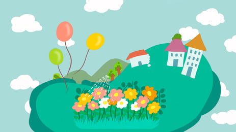 Fresh And Lovely Small Flower House Advertising Background Background,grassland,small Flower,balloon,houses,hand Painted,cloud,blue, Sky, Fresh And Lovely Small Flower House Advertising Background, Background, Background image