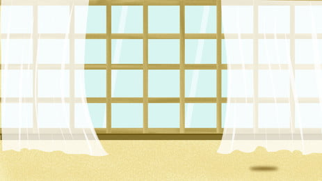 Fresh And Simple Window Background Design Background,hand Painted Background,home, Background, Window, Curtain, Background image