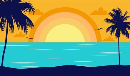 新鮮なビーチビーチの海辺の夜の背景, 新鮮な背景, イラストの背景, ビーチ 背景画像