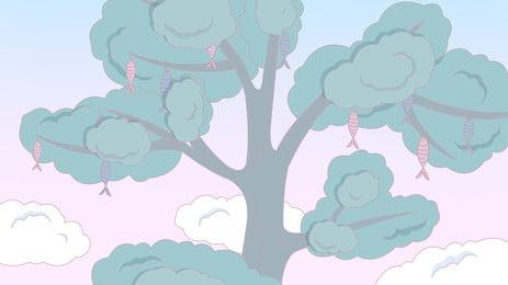 Fresh Blue Big Tree Advertising Background Tree,fresh,advertising Background,plant,trees,small Fish,fairy, Tale, Lovely, Fresh Blue Big Tree Advertising Background, Background image