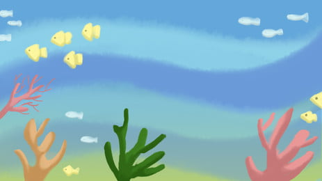Fresh Blue Ocean Fish Coral Cartoon Element, Fresh, Blue, Ocean, Background image