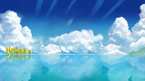 新鮮な青い海と青い空のバナーの背景 漫画 手描き 新鮮な背景 バナーの背景 海の背景 青い空 白い雲 新鮮な青い海と青い空のバナーの背景 漫画 手描き 背景画像