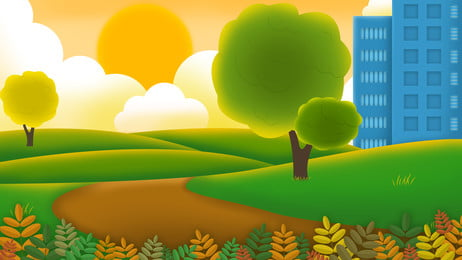 新鮮な夕暮れ公園の広告の背景, 広告の背景, 新鮮な, 公園 背景画像