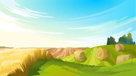 清新田地裡插畫背景設計, 田地, 收穫, 豐收 背景圖片