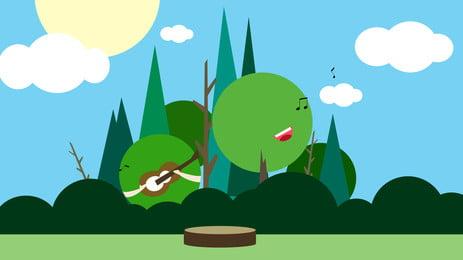Fresh Forest Castle Advertising Background, Advertising Background, Hand Painted, Fresh, Background image