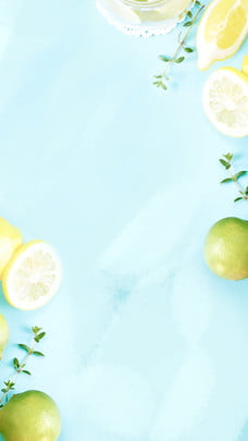 fresh fruit lemon breakfast poster background design , Fresh, Blue, Fruit Background image