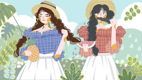 摘菠蘿的清新女孩綠色植物卡通背景 摘菠蘿 清新 女孩背景圖庫