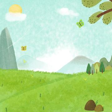 Đồng cỏ tươi xanh bầu trời chính thiết kế nền bản đồ Tươi Vẽ Tay Hình Nền