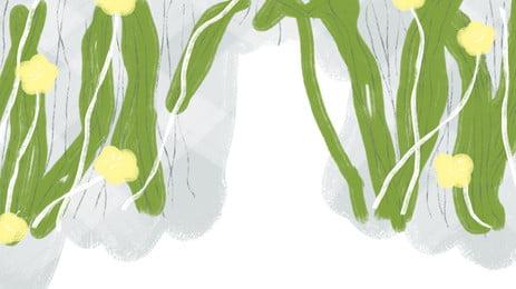 清新綠色仙人掌植物背景, 清新背景, 簡約設計, 綠色 背景圖片