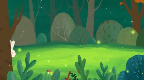 rừng xanh tươi phim hoạt hình mất yếu tố nền thỏ, Tươi, Màu Xanh, Rừng Ảnh nền