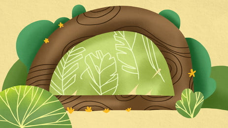 Fresh Green Cave Advertising Background Background,hand Painted,plant,cave,big Leaves,star,yellow, Background, Fresh, Fresh Green Cave Advertising Background, Background image