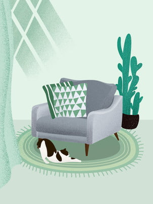 Fresh hand drawn home sofa cat plant background , Plant, Cactus, Sofa Background image