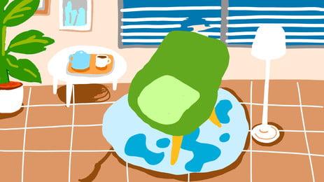 新鮮な手描きリビング広告の背景, 客間, 家居, 手絵 背景画像