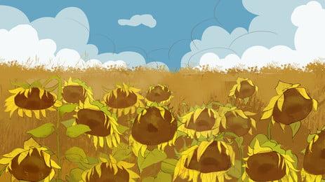 清新手繪向日葵廣告背景, 廣告背景, 植物, 花朵 背景圖片