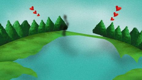 Свежий ручной росписью зеленый праздник плакат справочный материал зеленый любовь деревья абстрактный Охрана окружающей среды Праздничный озера Поверхность доска Фоновое изображение