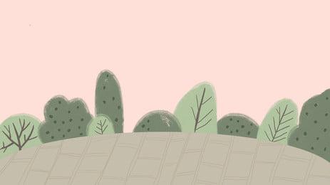 新鮮な手描きの森、緑の葉、背景素材 ウッズ 緑の葉 微視的 背景画像