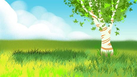 Fresh Nature Grass Big Tree Advertising Background, Fresh Nature, Green Background, Big Tree, Background image