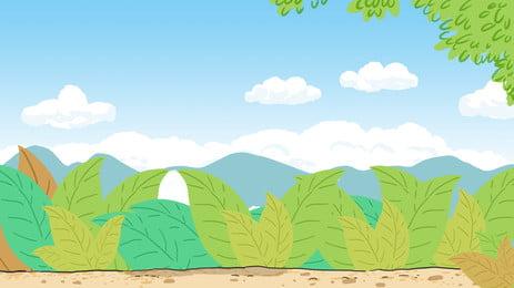 新鮮な屋外の緑の植物の雲の背景素材 新鮮な グリーンプラント 植物 背景画像