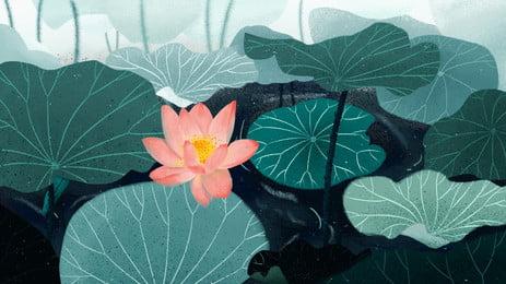 清新な色彩は蓮池のポスターの背景の素材を描きます Pspd背景 Pspd背景素材 キャラクター素材 背景画像