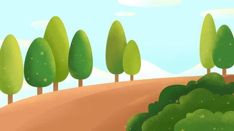 清新植物道路廣告背景 廣告背景 清新 校園背景圖庫